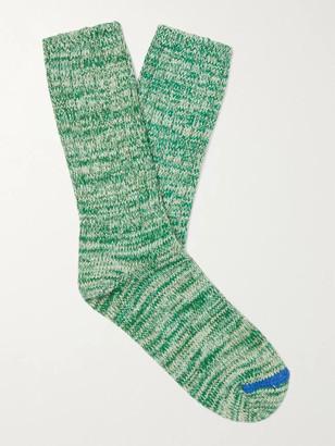 Thunders Love Ribbed Melange Recycled Cotton-Blend Socks