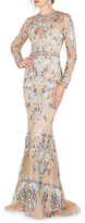 Mac Duggal 6-Week Shipping Lead Time Long-Sleeve Floral Lace Jewel-Neck Gown