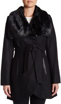 Rachel Roy Faux Fur Collar Wool Blend Coat