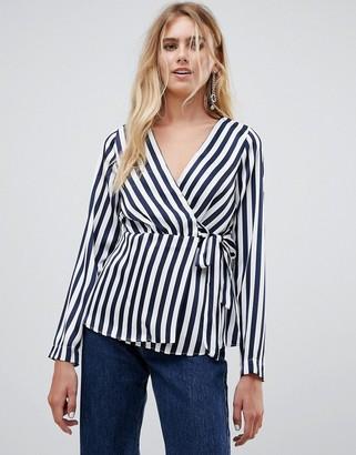 Pieces Disha stripe wrap blouse-Navy