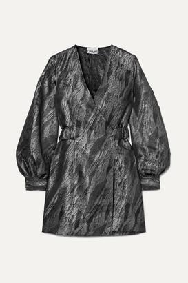 Ganni Metallic Jacquard Wrap Mini Dress - Black