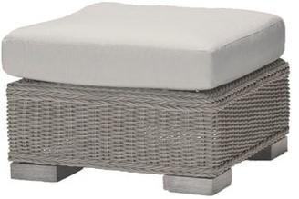 Rustic Wicker Ottoman with Cushion Summer Classics Cushion Color: Cast Dove