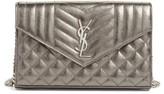 Saint Laurent Women's Metallic Leather Wallet On A Chain - Grey