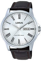 Lorus Rxn11dx9 Day Date Leather Strap Watch, Brown/silver