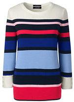 Lands' End Women's Petite Supima 3/4 Sleeve Stripe Sweater-Fresh Sky Multi Stripe
