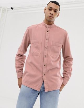 Asos Design DESIGN overshirt with grandad collar in pink