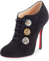 Christian Louboutin Booton Suede Crystal-Button Red Sole Bootie, Black