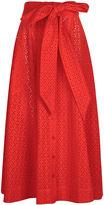 Lisa Marie Fernandez Tomato Red Broderie Anglaise Beach Skirt