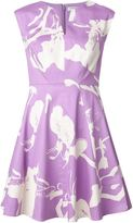 Halston floral print flared dress