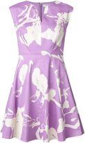 Halston floral print flared dress