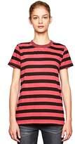 Stateside Women's Black Stripe Short Sleeve Crew Neck