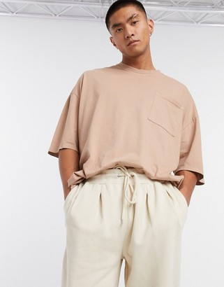 ASOS DESIGN oversized T-shirt with pocket in washed beige