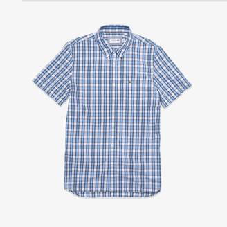 Lacoste Men's Short Sleeve Plaid Poplin Shirt