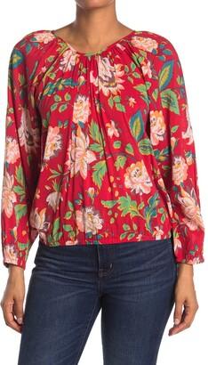 Catherine Malandrino Floral Print Raglan Sleeve Flounce Top