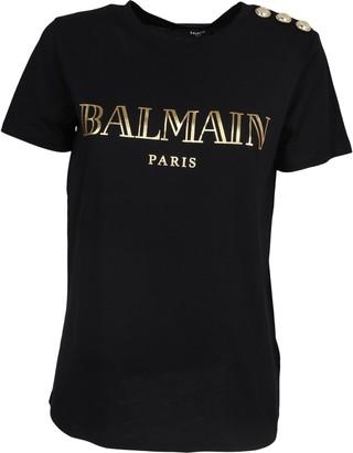 Balmain Logo Print Button Detail T-Shirt