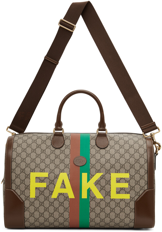 Gucci Beige Medium 'Not/Fake' GG Carry-On Duffle Bag