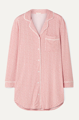 Eberjey Sleep Chic Printed Stretch-modal Pajama Shirt - Baby pink