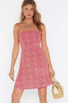 Nasty Gal Womens Floral Square Neck Mini Dress - Red