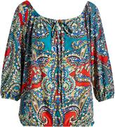 Glam Blue & Red Scarf Print Slit-Sleeve Blouson Top