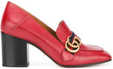 Gucci GG Web mid-heel loafer pumps - women - Calf Leather/Leather - 36