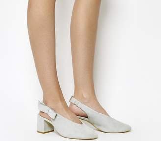 Office Magical Bow Slingback Heels Grey Suede