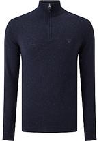 Gant Donegal Tweed Half Zip Jumper, Navy