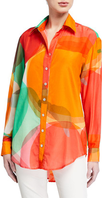 Finley Clark Abstract Apple Oversized Button-Down Shirt