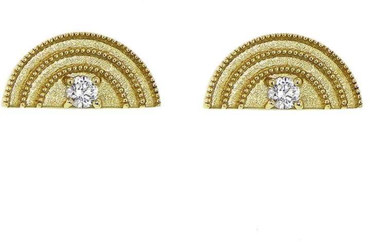 Andrea Fohrman Tiny Diamond Rainbow Stud Earrings - Yellow Gold