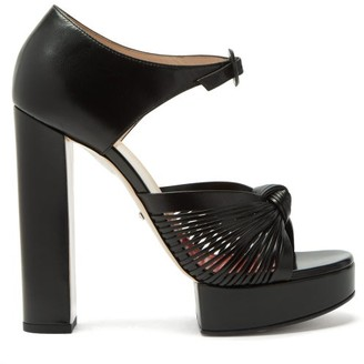 Gucci Crawford Knotted Platform Leather Sandals - Womens - Black