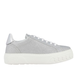 Casadei Sneakers Glitter Sneakers With Rubber Sole And Chain