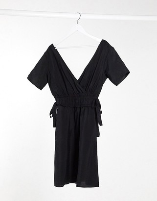 Object linen mini dress with tie sides in black