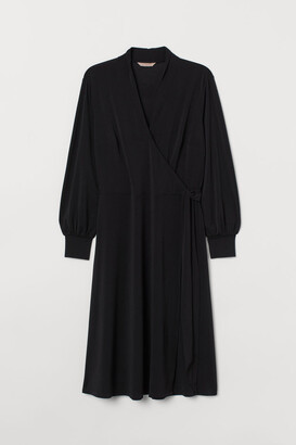 H&M H&M+ Calf-length Wrap Dress - Black