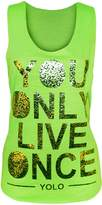 GirlsWalk Girls Walk Womens Sleeveless Gold Foil 'You Live Once' Print Vest Yolo Top