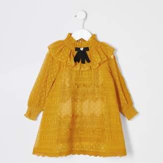 River Island Mini girls dark Yellow lace bow collar dress