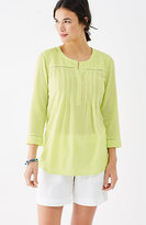 J. Jill Crinkled-Cotton Pleated Top