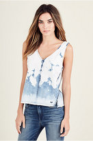 True Religion Raw Edge Indigo Womens Top