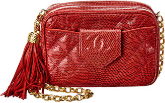Chanel Red Quilted Lizard Leather Small Cc Tab Camera Bag