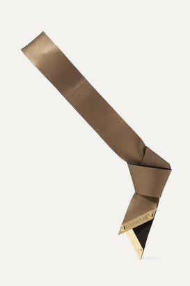 Balmain Paris Hair Couture - Metallic Textured-leather Headband - Bronze