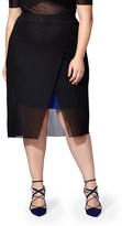 Plus Size Women's Mblm By Tess Holliday Stretch Knit Skirt With Mesh Overlay
