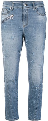 Versace Jeans Couture Low Rise Distressed Straight Jeans