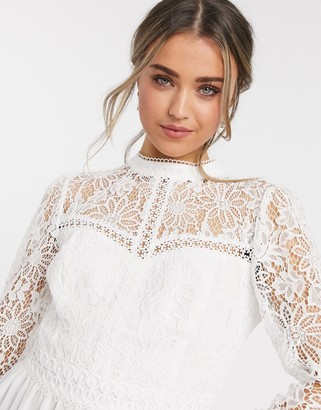 Forever New lace yoke peplum top in ivory