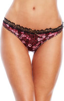 Just Cavalli Mixed Print Lace Trim Thong