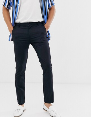 Topman skinny smart pants in navy