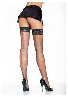 Leg Avenue Fishnet Thigh Highs with Silicone Lace Top 9035QLEG_BL Black