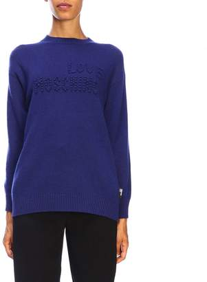 Love Moschino Long-sleeved Sweater With Maxi Logo In Relief