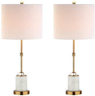 "Jonathan Y Designs Harper 27"" Marble and Crystal Table Lamp, Brass, Set of 2"