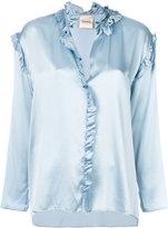 Nude metallic frill-trim blouse