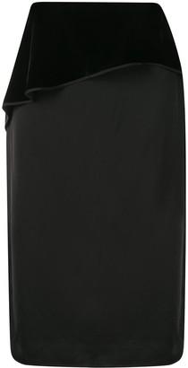 Helmut Lang Velvet Panel Midi Skirt