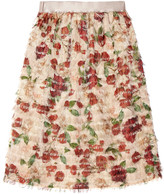 Mother of Pearl Emelia fringed printed voile skirt