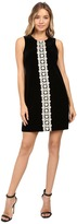 Jessica Simpson Solid Velvet Dress with Metallic Lace Trim